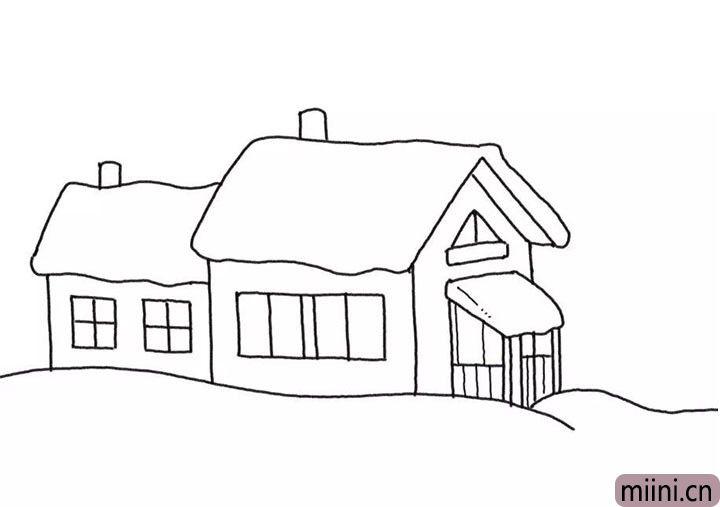 4.给房子画出门和窗。