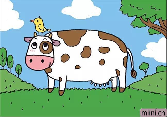 欢乐农场里面的奶牛简笔画步骤教程