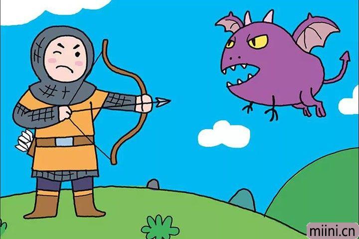 勇敢的士兵拿弓箭射杀小怪兽简笔画步骤教程