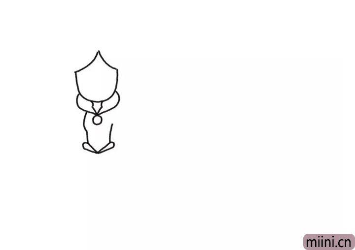 1.先画出公主的脸部轮廓和身体轮廓。