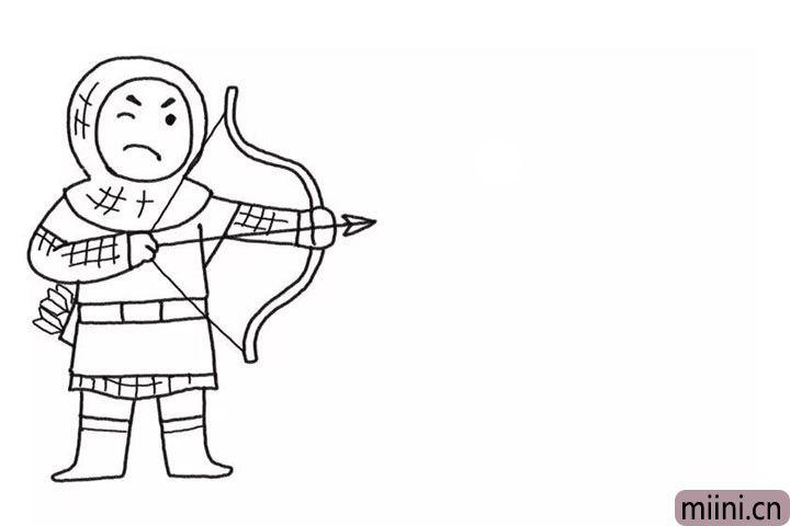 3.画手中的箭。