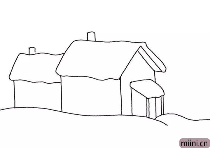 3.同样的方式画出另外一座房屋、烟囱和地面。