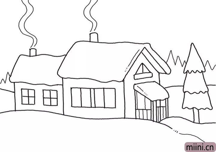 6.画出森林背景和烟囱飘出的烟雾。