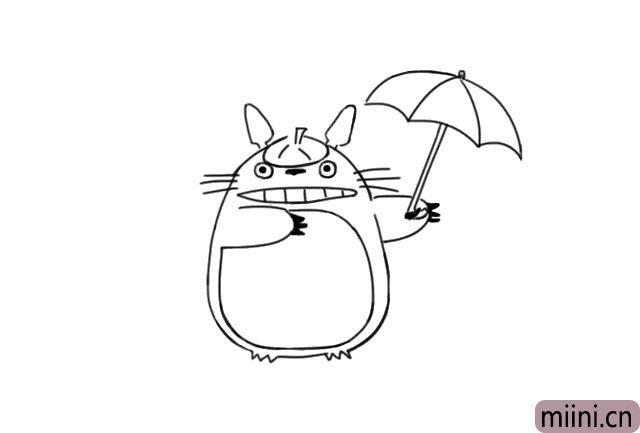 7.接着画出右边手上撑开的伞。
