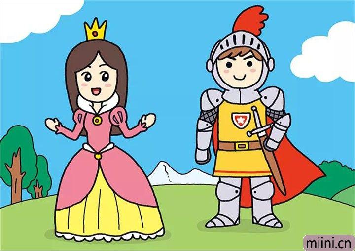 美丽的公主和勇敢的王子幸福在一起的简笔画步骤教程