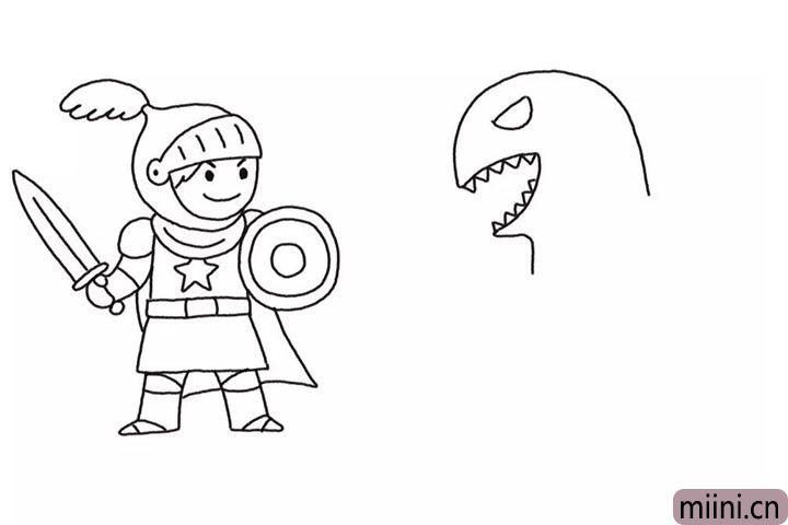 4.画怪兽的头部轮廓。