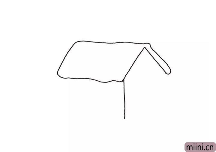 1.先画出房屋的房顶轮廓。