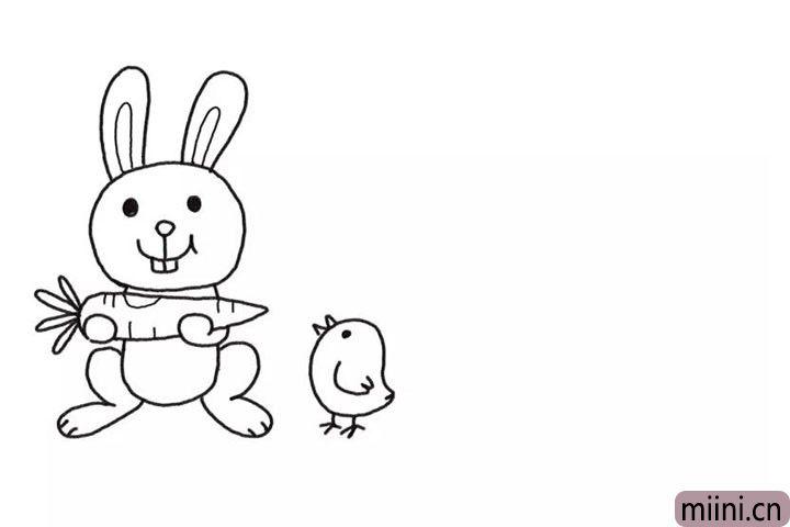3.在小兔子右边画上一只小鸡。
