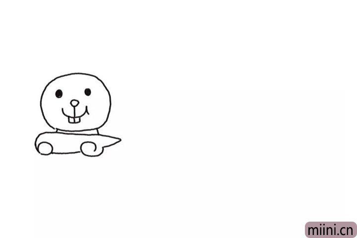 1.先画出小兔子的头。