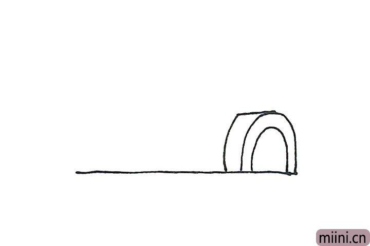 2.然后横过来一条短线,再画上一条弧线,形成冰屋的门。