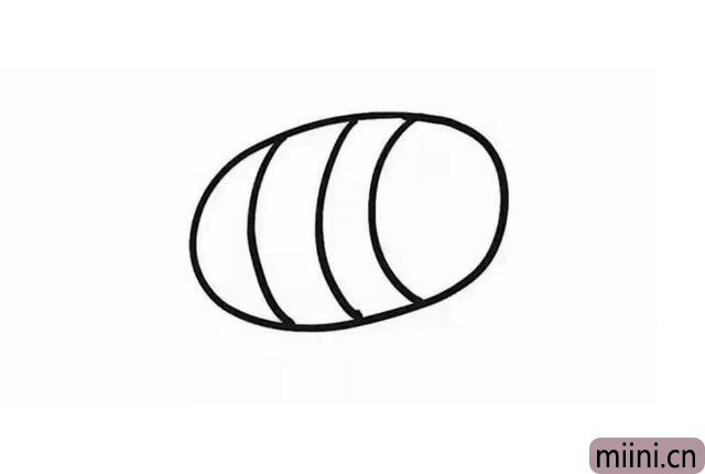 2.在椭圆形里, 画三条间隔大致相同的弧线, 要注意弧度的方向哦, 作为小蜜蜂的身体。