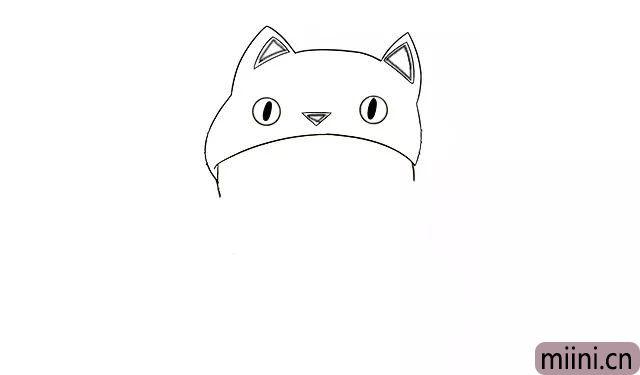 2.接着在帽子上画出猫咪耳朵的轮廓, 再画出猫咪的眼睛、嘴巴, 加工一下嘴巴, 让大家看到嘴唇。