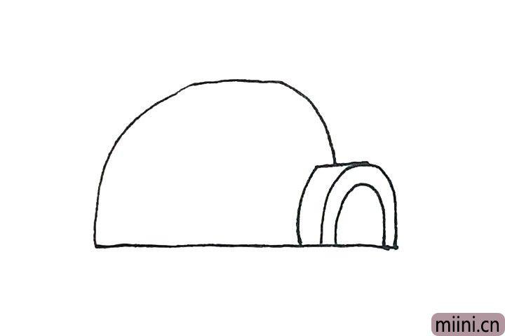 3.接着再画上一个大的半圆形作为屋子的外形。