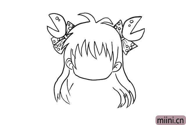4.然后画上头上左右两边的蝴蝶结和钳子,上面画上小圆点装饰。
