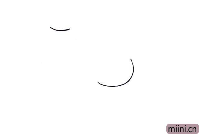 1.最开始画出上下高低不一的两张脸蛋,注意上下的距离,上面的脸画一条略弯的弧线即可,左下方的脸稍微圆一点。