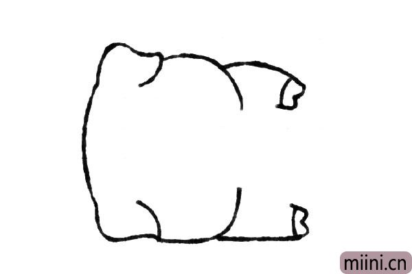 3.然后画小猪的双手。