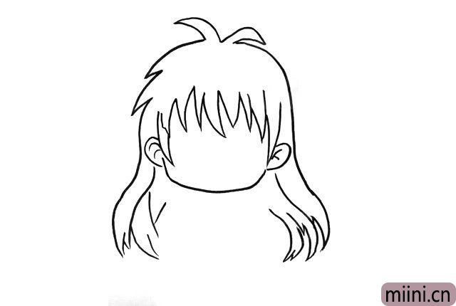3.完善所有的头发部分,一直以来都很喜欢这种漫画风的头发,感觉飘逸线条又流畅。