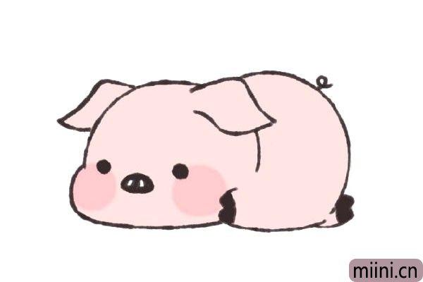 趴在地上的小猪简笔画步骤教程