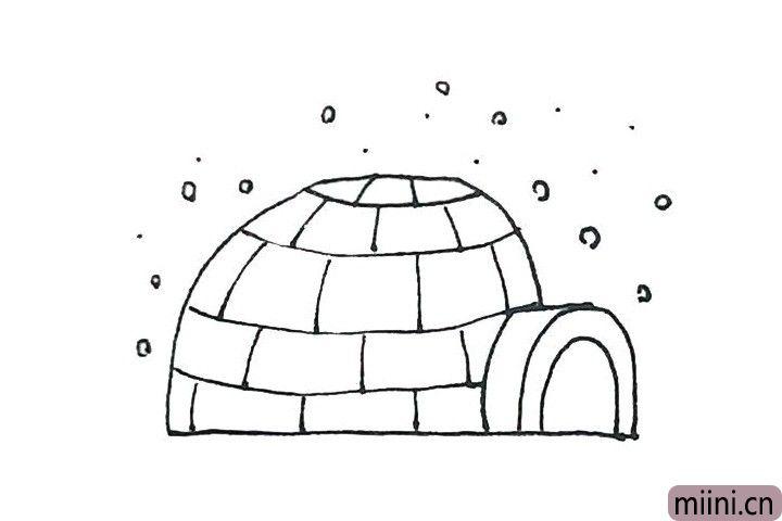 6.周围,还可以画上一些的圆点点,像下雪一样。