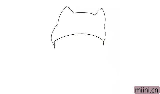 1.首先画出玻尿酸鸭头上戴的猫咪帽子, 再画出它的太阳穴部位。