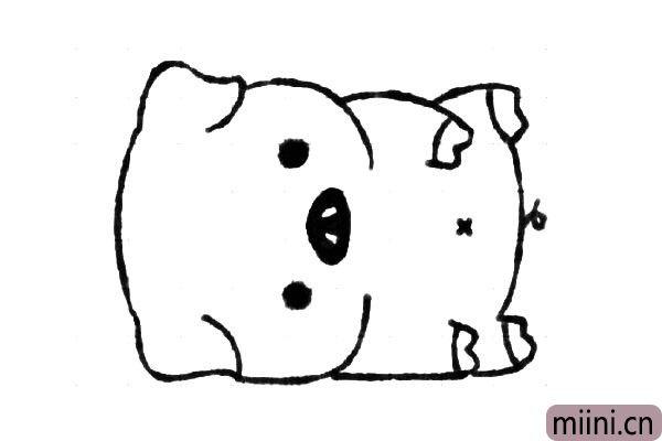 6.画小猪的肚脐和尾巴。