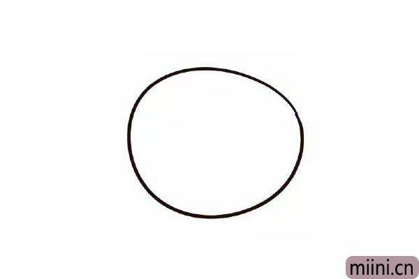 1.画一枚前面胖后面瘦的椭圆。