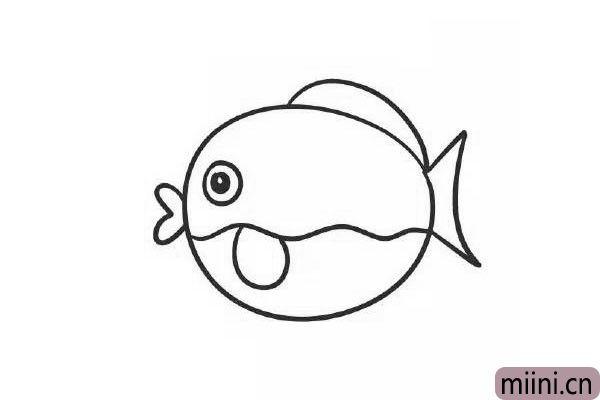 8.靠着分割线在眼睛右下方的位置画一片小鱼鳍。