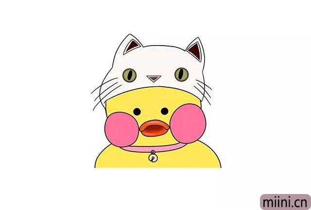 7.最后给玻尿酸鸭涂上颜色, 戴帽子的玻尿酸鸭是不是更可爱呢?