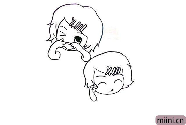 4.然后画上刘海上的发夹,眉毛眼睛和嘴巴。