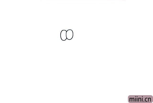 1.首先画出加菲猫的眼睛, 两只眼睛是连在一起的。