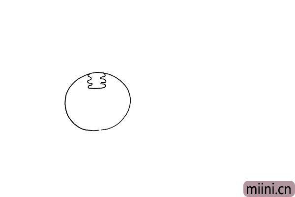 """第二步:在圆形的上方画出一个`王""""字.这是一只小老虎。"""