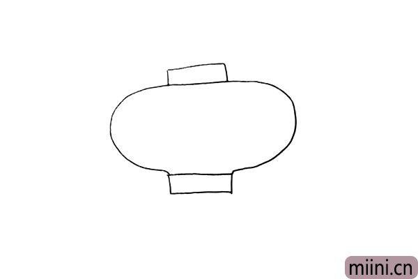 第二步.在灯笼的两侧画出大大的U型身体。