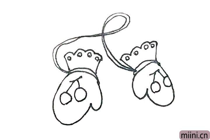 6.中间,还要画上线条串联起来两只手套。