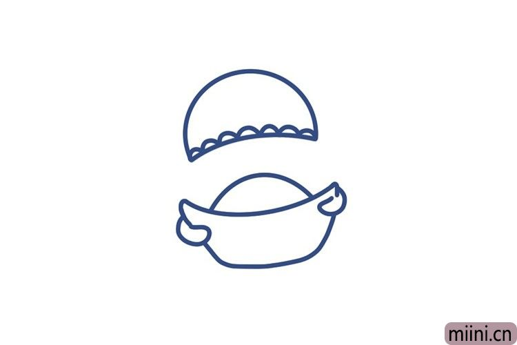 2.接着画财神的帽子。