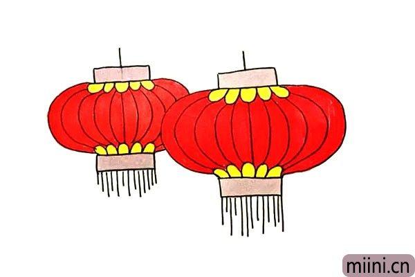 第七步.最后我们给灯笼涂上漂亮的大红色吧。