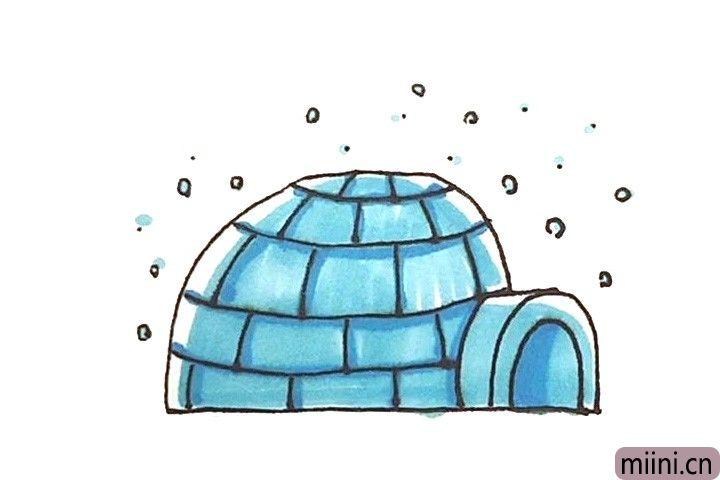 爱斯基摩人住的房子冰屋简笔画步骤教程