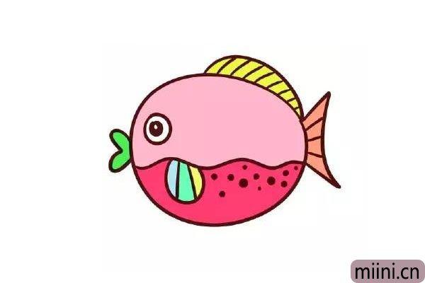 9.给鱼鳍和鱼尾画上线条,用圆点装饰鱼的身体,最后涂上自己喜欢的颜色。