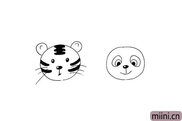 第十一步:在画上熊猫的鼻子和嘴巴.鼻子留出高光。