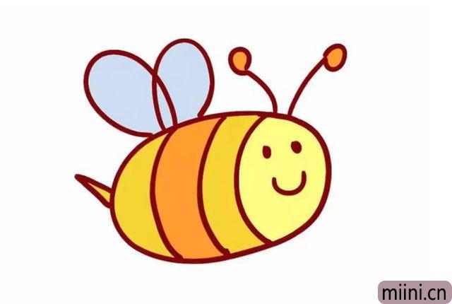 9.给小蜜蜂的脸部涂上浅黄色, 其他的身体和尾巴的部分, 涂上比脸部稍微深一点的黄色。 可爱的小蜜蜂就画好了~