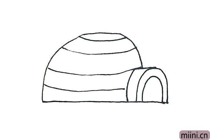 4.里面先画上几条横的弧线。