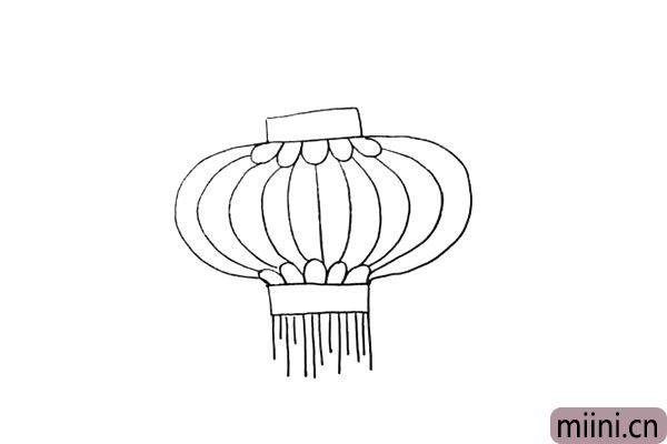 第五步.用长短不一的竖线画出灯笼底部的穗子。