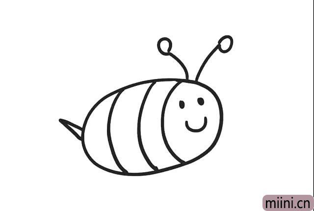 5.在头顶画上两条线, 在线的顶端画上两个小圆圈, 小蜜蜂触角就画好了。