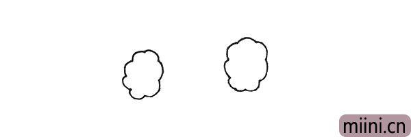 第一步:先用小弧线画出两个棉花团。