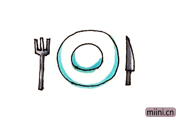 第七步:最后涂上好看的颜色,餐具就画好了。