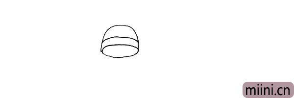 第二步:上面画上一个半圆,中间加上一条弧线。