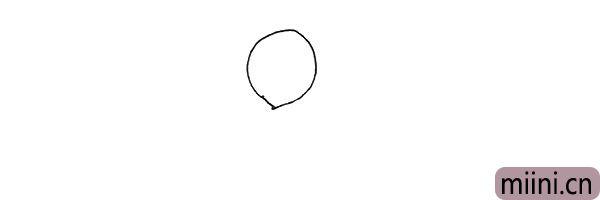 第一步:先画上一个椭圆形,注意下面尖一些。