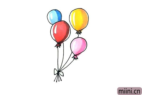 第六步:最后涂上好看的颜色,彩色气球就这样画好了。