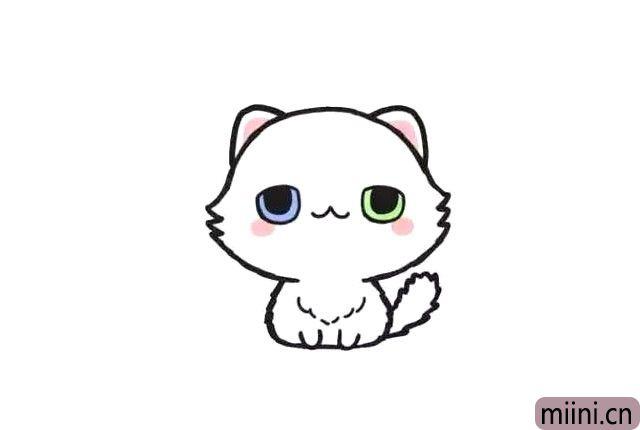 可爱的波斯猫简笔画步骤教程