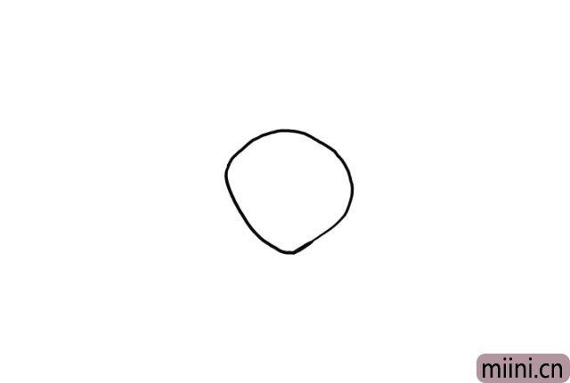 1.先画一个不规整的圆形,作为大针蜂的头部轮廓。