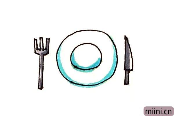 吃饭用的餐具简笔画步骤教程